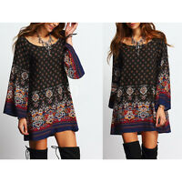Vintage Women's Boho Paisley Floral Tunics Dress Loose Blouse Casual Cotton Tops