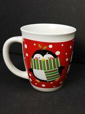 """Royal Norfolk Coffee Tea Cocoa Mug Holiday Christmas """"3 Whimsical Penguins"""" Cup"""