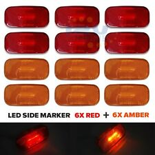 12pcs LED 12V RV Trailer Side Marker Truck Lorry AUTO Clearance Lights Red&Amber
