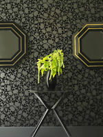 Designer Barbara Hulanicki Black Skulls Print Flocked Luxury Wallpaper