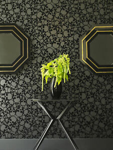 Designer Barbara Hulanicki Black Skulls Print Flocked Luxury Wallpaper