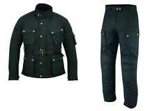Warrior Black Classic Waxed Cotton Motorcycle Waterproof Armour Jacket Trouser