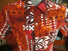 MEDIUM True Vtg 60s SEARS COTTON BARK CLOTH Hawaiian BROWN/ORANGE Shirt Hawaii