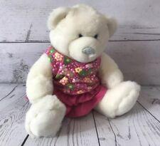 "Build A Bear White Bear Pink Skirt Floral Shirt Tank 17"" Girl Teddy Stuffed"