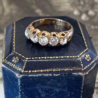 Early Victorian Rose Gold 5 stone Paste Diamond Ring hallmarked UK L US 5 1/2