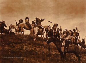 Vintage EDWARD CURTIS American Indian Sioux Warriors GOLDTONE Photo Art 12x16