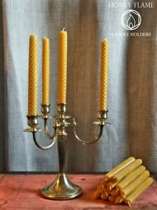 1950s Antique Style Brass 4 Armed Candelabra with 12 Beeswax Candles