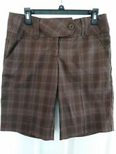 DAISY FUENTES NWT   SIZE 6 BROWN PLAID DRESS BERMUDA SHORTS