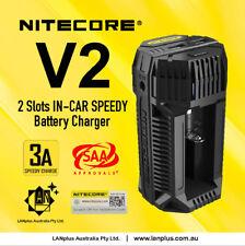 Nitecore V2 3A 2-Slots In Car Battery Charger 12V Lighter Adapter USB 18650 2665
