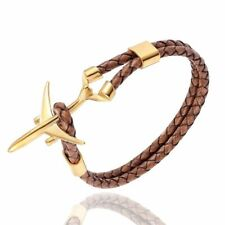 Pilot Bracelet Airplane Leather Rope Stainless Steel Gold Color Plane Bracelets