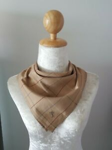 "BurberryUnisex Brown Plaid Checks Cotton Square Handkerchief 18"""
