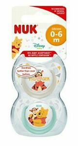 NUK Winnie Silicone Soothers 2pk 0-6 Months
