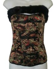 BLACK, GOLD & RED CORSET/BUSTIER - Lace-up  - Removable Faux Fur by Fredricks