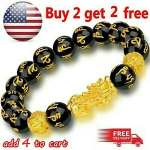Feng Shui Black Obsidian Beads Pi Xiu Bracelet Attract Wealth Good Luck Jewelry