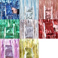 PET Foil Fringe Tinsel Shimmer Curtain Wedding Birthday Party Backdrop Decor