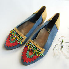 Vtg 80s BEADED MOCCASINS Colorful Bernardo LEATHER ITALY Colorblock Fringe Sz 7