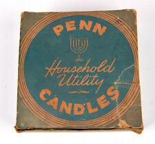 Vintage Penn Household Utility Candles Box & 7 candles Penn Waxworks Phila Pa