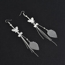Fashion Long Korean Style Tassel Leaves Crystal Rhinestone Stud Earrings