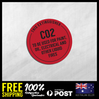 FIRE EXTINGUISHER STICKERS - CO2 - Safety Stickers 150x150mm #FE004