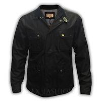 Mens Brave Soul 'Survivor' Black Casual Biker Quilted Cord Collar Coat Jacket
