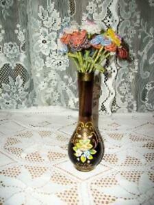 FRENCH GLASS BEADED FLOWER BOUQUET BOHEMIAN ART GLASS VASE AMETHYST HP VINTAGE