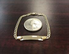 14k Solid Yellow Gold Baby ID Bracelet, Cuban Link, Pulsera De Oro 14k Para Bebe