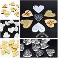 Multi Size Personalized Engraved Mr & Mrs Love Hearts Wedding Table Decor Favors