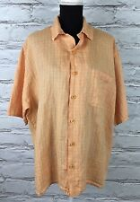 FLAX Jeanne Engelhart Sz Large 100% Linen Peach Lavender Grid Button Down Shirt