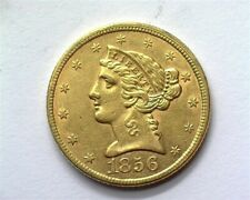 1856 LIBERTY HEAD $5 GOLD UNCIRCULATED RARE THIS NICE!!