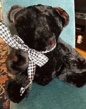 Real fur teddy bear. Black mink or beaver 14inches sitting, jointed, handmade!