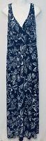 Chaps by Ralph Lauren Women's Maxi Dress Sz Medium Blue Floral V-Neck Sleeveless