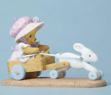 Cherished Teddies 'Spring Is On Its Way' Bear with Bunny Pulling Cart Nib