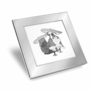 Silver Glass Coaster - BW - Mexican Dog & Cat Drinks  #39263