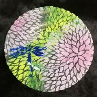 """Sydenstricker Fused Art Glass Green Purple DRAGONFLY  Plate 7.25""""  (F206 4)"""