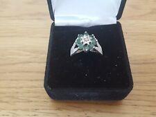 VINTAGE 9ct Oro Bianco Smeraldo & Anello Di Diamanti, dimensione N, gioielli d'oro