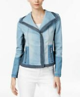 INC International Concepts Colorblocked Denim Moto Jacket Indigo M