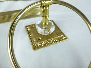 """NOS Vtg Ornate Brass Tone Towel Bar w/ Rings & Lucite Accents 18"""""""