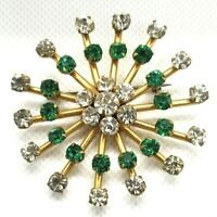 Vintage Brooch Star Burst Green and Clear Rhinestones Art Deco 1920's era?