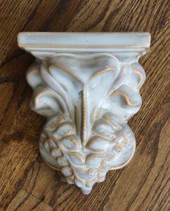"""Plaster Ceramic Wall Sconce Shelf Corbel Gothic Glazed Distressed 8.5x6.75x3.5"""""""