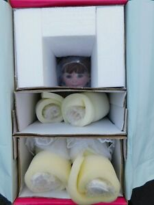 """Marie Osmond Coming Up Roses Full Size White Christmas 13"""" Seated Porcelain Doll"""