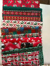 """Lot 10 Scraps Vintage Wamsutta  Christmas fabric for masks or quilting 9""""x 21"""""""