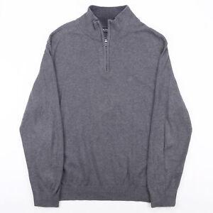 Vintage NAUTICA Grey 00s 1/4 Zip Cotton Plain Jumper Mens L