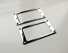 More details for 2x metal humbucker pickup mounting ring surrounds (chrome) new pair silver