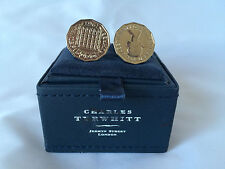 New in Box Charles Tyrwhitt Silver Three pence cuff links