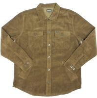Brixton Mens Durham L/S Flannel Washed Brown Corduroy M New