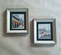 PAIR Vintage MID-CENTURY Framed PARIS STREET SCENE Serigraph ART PRINTS