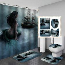 Blue Mermaid Pirate Ship Shower Curtain Bath Mat Toilet Cover Rug Bathroom Decor