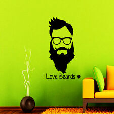 Barber Wall Decals I Love Beards Hipster Salon Decal Hair Vinyl Stickers NA261