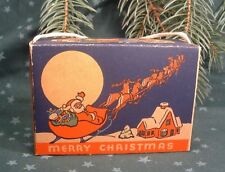 1910 Merry Christmas Holiday Santa Sleigh and Reindeer Display Candy Box