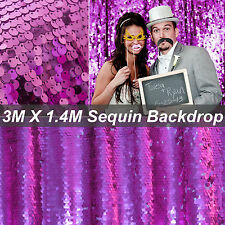 3M X 1.4M Sparkly Sequin Hot Pink Tablecloth Blinking Backdrop Wedding Decoratio